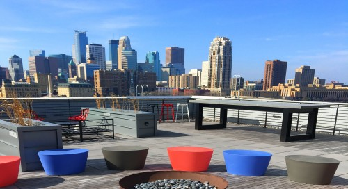 A rooftop view of downtown Minneapolis from A-Mill Artists Lofts. (Courtesy of a-millartistlofts.com)