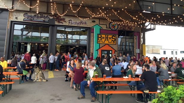 July 19, 2016 photo of the whimsical patio at Bauhaus Brew Labs. (Pioneer Press: Jessica Fleming)