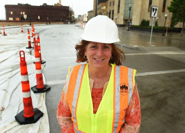 Kathy Lantry, director of St. Paul Public Works, pictured on Kellogg Boulevard downtown, on May 25, 2016. (Pioneer Press: Scott Takushi)