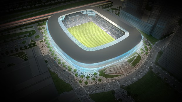 This new rendering of Minnesota United FC's stadium in St. Paul's Midway neighborhood provides a bird's eye view. (Courtesy of Minnesota United FC)