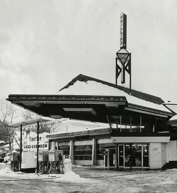 The gas station in Cloquet, Minn., designed by Frank Lloyd Wright, is still open, but it's running on empty. The most famous gas station in Minnesota, designed in 1956 by the outspoken architect who believed that form follows function.   (AP Photo archives/Duluth News Tribune, Charles Curtis)