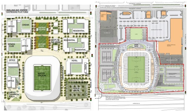 Minnesota United previously said grassy plazas the size of Mears Park would front the team's soccer stadium when it opens in 2018 in the Midway neighborhood. In the latest site plan, a 1.3-acre green space called Midway Square has been eliminated. (Images courtesy Minnesota United FC)