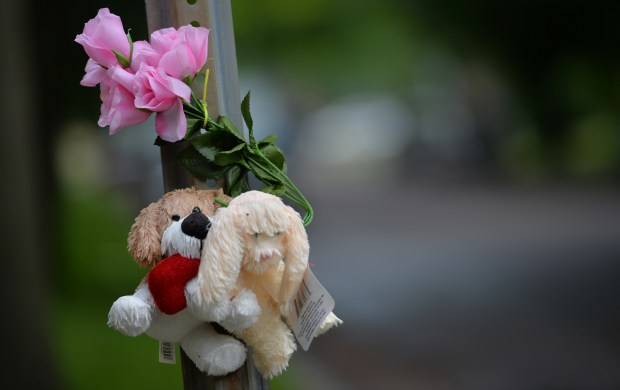 Pink flowers and a stuffed dogs toys are tied to a stop sign near where a bloodied and bruised 5 year-old was found after she was attacked and raped by a stranger in the North Rice Street area about 6 weeks ago. Photographed on Friday, June 10, 2016. (Pioneer Press: John Autey)