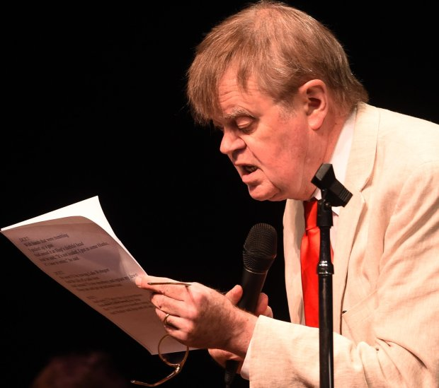 Garrison Keillor sings a song in his last show as host of the Prairie Home Companion at the Fitzgerald Theater in St. Paul, on Feb. 27, 2016. (Pioneer Press: John Autey)