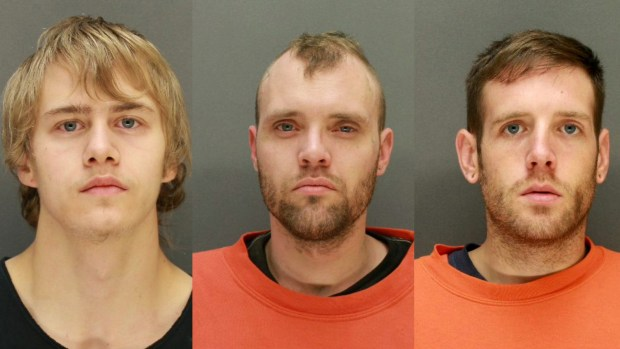 From left, alleged gunman Shawn Benson, Justin Jensen and Edward Zelko (Wright County sheriff)