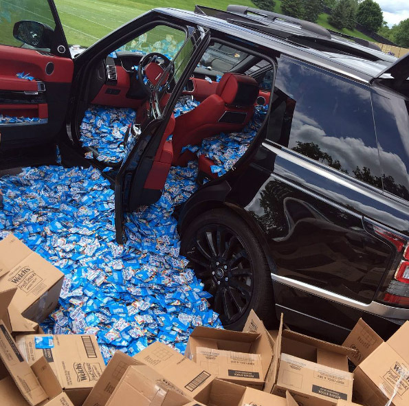 Minnesota Vikings tight end Kyle Rudolph, with a bit of help from quarterback Teddy Bridgewater, pranked rookie wide receiver Laquan Treadwell on his 21st birthday, filling his car with Welch's Fruit Snacks while the team held minicamp in Eden Prairie on Wednesday, June 15, 2016. (Courtesy photo)
