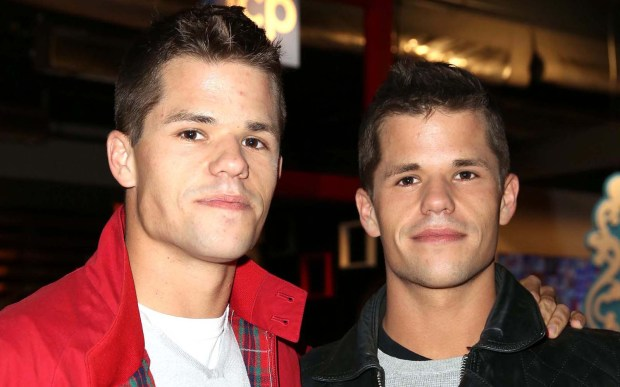 "Actors Max Carver, left, -- who, with his identical twin Charlie Carver portrayed two of the Scavo brothers in ""Desperate Housewives"" -- is 28. Charlie turned 28 yesterday; he was born seven minutes before his identical twin -- just before midnight. Both also appeared in ""Teen Wolf."" (Getty Images: Chelsea Lauren)"