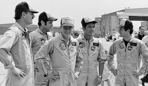 "Retired astronaut and Wilmar native George ""Pinky"" Nelson, shown at center, in 1984, is 66. He was part of three space missions, including the first flown after the Challenger accident. He's shown with the shuttle Challenger crew after returning from a six-day mission. In their nickname caps, left to right, are: James ""Ox"" van Hoften, Francis ""Dick"" Scobee, Nelson, Robert ""Crip"" Crippen and Terry ""T.J."" Hart. Read more about Nelson at http://www.jsc.nasa.gov/Bios/htmlbios/nelson-gd.html. (Associated Press file photo)"