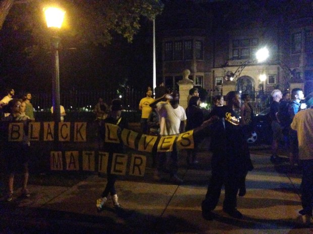 Outside the Governor's Mansion in St. Paul, a large crowd gathered early Thursday. (Pioneer Press: Frederick Melo)