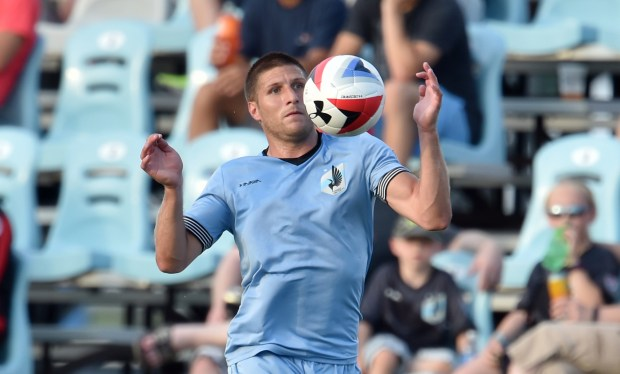 Minnesota United FC defender Justin Davis stops the ball in the first half of the a Minnesota United FC Friendly Game against AFC Bournemouth from the English Premier League at the National Sports Center stadium in Blaine on Wednesday, 2016. AFC Bournemouth beat Minnesota United FC, 4-0.(Pioneer Press: John Autey)