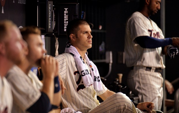 Minnesota Twins first baseman Joe Mauer watches as the Twins bat against the Atlanta Braves during the sixth inning at Target Field on Wednesday, July 27, 2016. The Braves beat the Twins, 9-7. (Pioneer Press: John Autey)