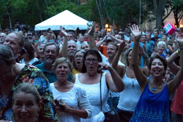 A crowd gathers in Mears Park for the Lowertown Blues Fest in 2015. (Courtesy photo)