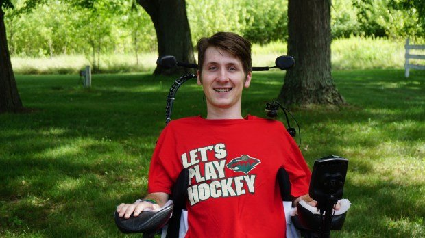 Undated courtesy photo of Matt Olson, circa July 2016. Olson a former Totino-Grace hockey captain who graduated in 2014, broke his neck and was paralyzed when he hit the boards during a game with the Chicago Cougars junior team on Feb. 21, 2016. Photo courtesy of Sue Olson.