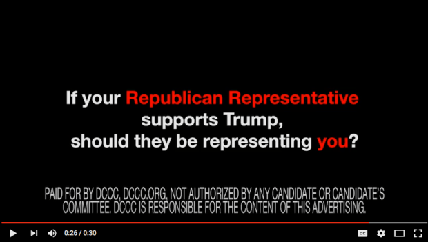 The Democratic Congressional Campaign Committee is launching a cable television ad campaign linking Republican House members with Donald Trump, July 7, 2016