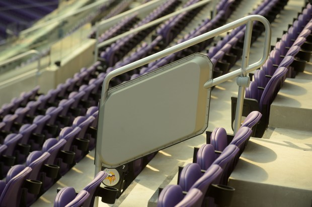 WiFi panels are built into the handrails of U.S. Bank Stadium. (Pioneer Press: Scott Takushi)