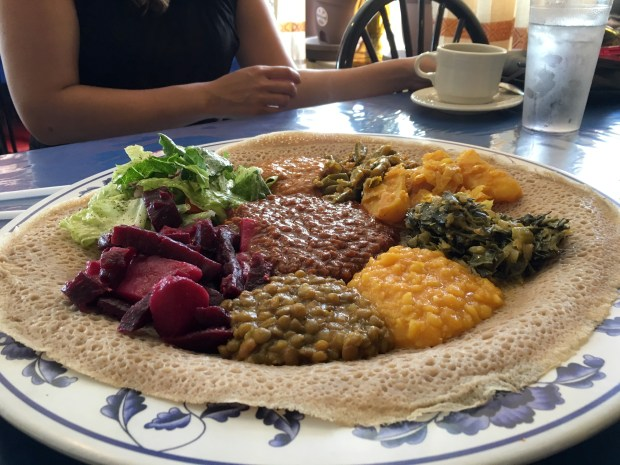 July 8, 2016 photo of vegetarian platter at Fasika in St. Paul. (Pioneer Press: Jessica Fleming)