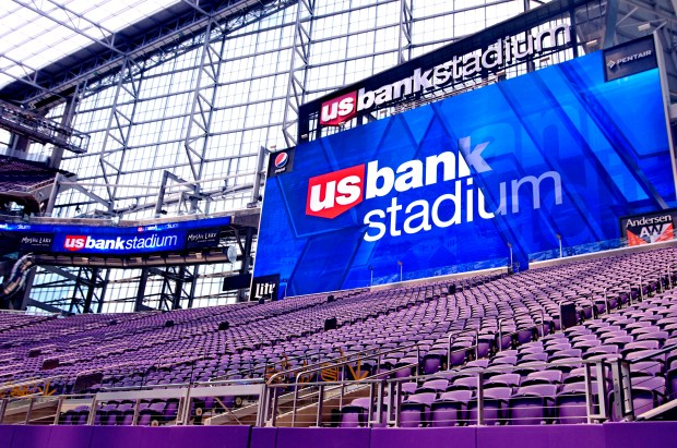 A massive scoreboard, built in Redwood Falls, Minn., is one of several projects attributed to greater Minnesota at U.S. Bank Stadium. (Forum News Service photo by Don Davis)