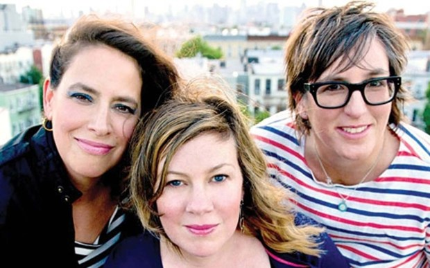 Luscious Jackson singer-bassist Jill Cuniff, right — shown with bandmates Gabby Glaser, left, and Kate Schellenbach — is 50. (Courtesy of billboard.com)