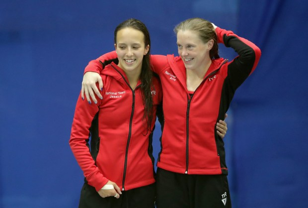 Jessica Parratto, left, and teammate Amy Cozad celebrate after winning the Sychronized Women's Platform Final during the 2016 U.S. Olympic Team Trials for diving at Indiana University Natatorium on June 22, 2016, in Indianapolis. (Photo by Streeter Lecka/Getty Images)