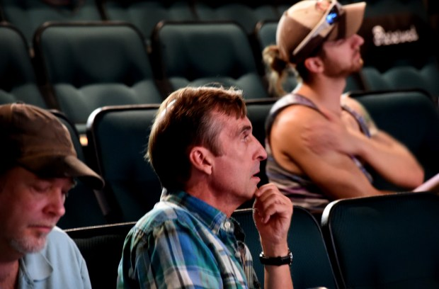 Artistic director Joe Chvala watches the rehearsal of a rhythm tap piece in 'Passing Through Pig's Eye,' at the Andy Boss stage in the basement of Park Square Theatre in St. Paul on Wednesday, August 17, 2016. (Pioneer Press: Jean Pieri)