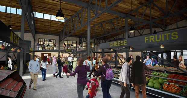 An architectural rendering shows the interior of the Schmidt Brewery's old keg house following a planned renovation. The Keg & Case Market will house restaurants, a marketplace and other amenities in the building on St. Paul's West Seventh Street. (Studio M Architects Inc.)