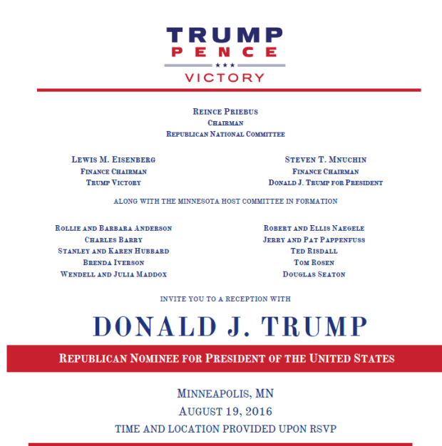 Invitation to Donald Trump's August 19, 2016 Minnesota fundraising event