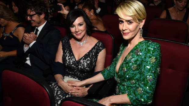 Marcia Clark, left, and Sarah Paulson appear in the audience at the 68th Primetime Emmy Awards on Sunday, Sept. 18, 2016, at the Microsoft Theater in Los Angeles. (Charles Sykes/Invision for the Television Academy/AP Images)