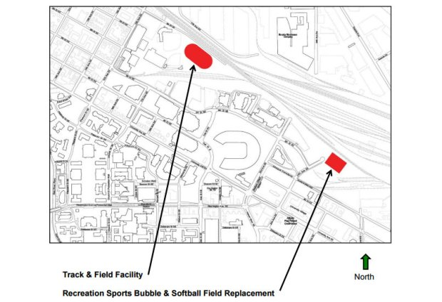 This map provided by the University of Minnesota shows the future location of the track and field facility and the sports bubble and softball field.