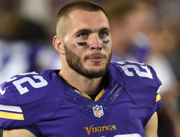 Minnesota free safety Harrison Smith on the sidelines in the third quarter of the Vikings preseason game against Buccaneers at TCF Bank Stadium in Minneapolis on Saturday, August 15, 2015. The Vikings beat Tampa Bay, 26-16. (Pioneer Press: John Autey)