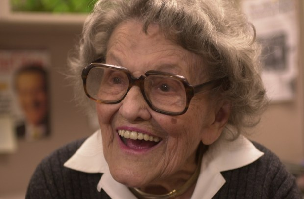 Annie Milner, who has worked for Marshall Fields for 83 years, celebrates her 100th birthday Wednesday. sd 6/24/02
