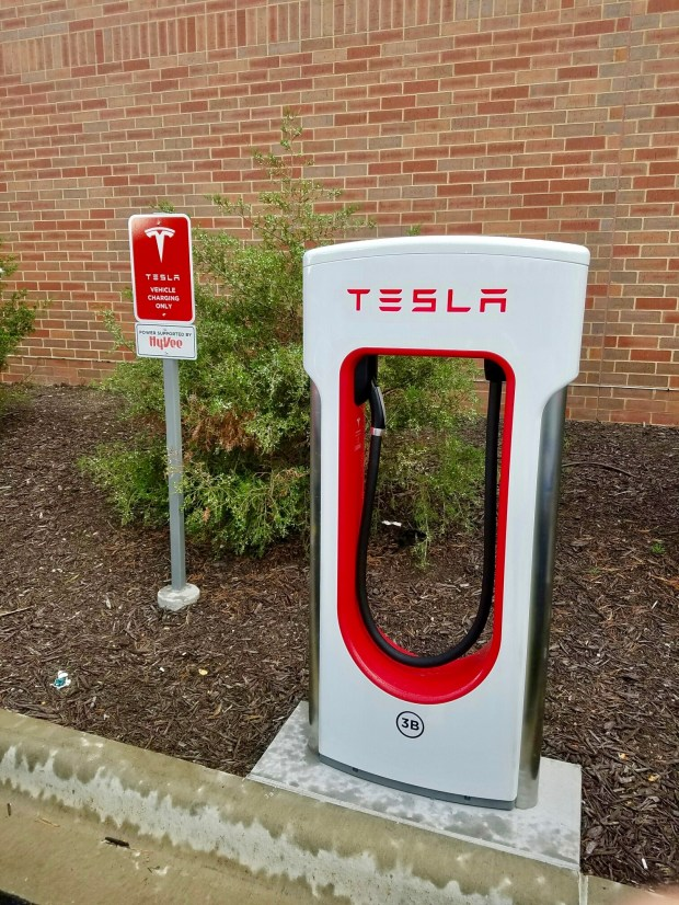 Tesla Supercharger stalls, such as this one outside an Oakdale Hey-Vee, have been free for owners of existing Model S, Model X and Roadster electric cars. However, users of the upcoming, lower-cost Model 3 sedans reportedly will have to pay for Supercharger use. (Courtesy photo: Jukka Kukkonen)
