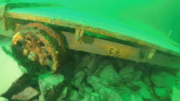 "This manual handcart bearing the letters ""CP"" -- for Canadian Pacific Railway -- was found in Lake Superior in 2014 by divers searching for the lost Locomotive 694 in the lake near Marathon, Ontario. (Photo courtesy of Terry Irvine)"
