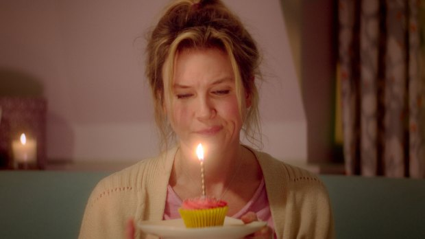 "The title character is celebrating her birthday alone as ""Bridget Jones's Baby"" but, as the title suggests, she gets company. (Universal Pictures)"