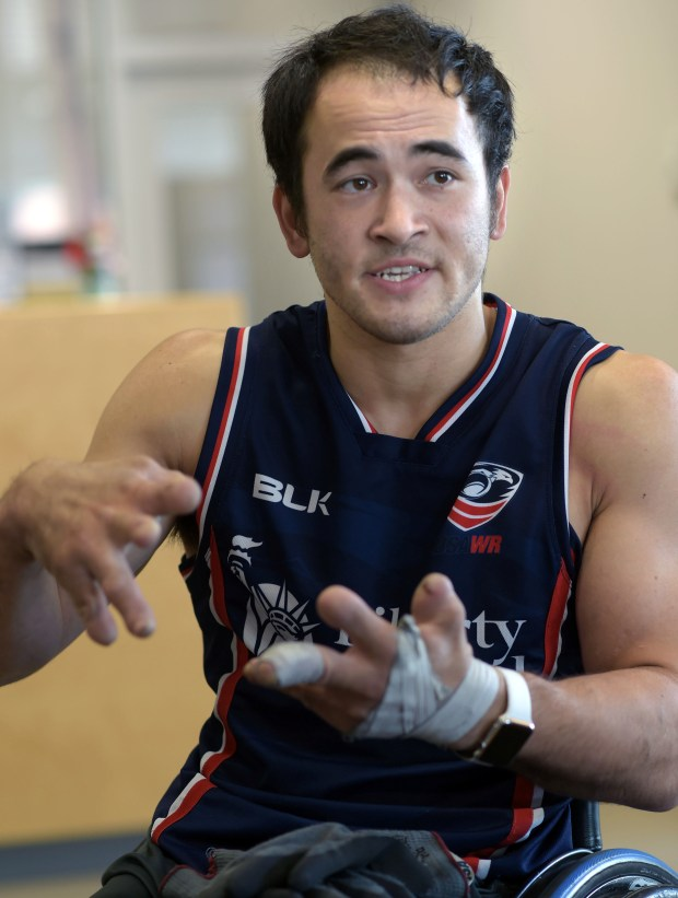 Chuck Aoki of Minneapolis will compete in rugby in the Paralympics in Brazil later this month, Thursday, September 1, 2016. (Pioneer Press: Scott Takushi)