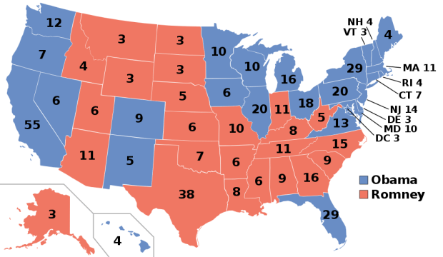 Electoral College map showing the results of the 2012 U.S. presidential election. President Barack Obama (D-IL) won the popular vote in 26 states and the District of Columbia (denoted in blue) to capture 332 electoral votes. Former Governor Mitt Romney (R-MA) won the popular vote in 24 states (denoted in red) to capture 206 electoral votes. (Public Domain)