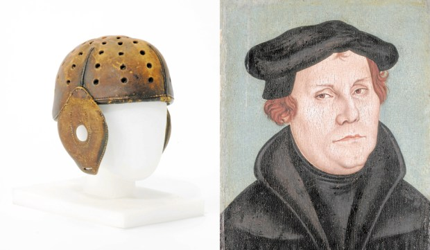 "Helmet worn by Knute Rockne in 1919, left, and Martin Luther, who sparked the Protest Reformation when he wrote his ""95 Theses."""