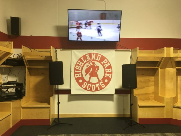 Highland Park's new locker room at the Charles M. Schulz rink features a flat-screen TV and white boards, as well as 22 players stalls.