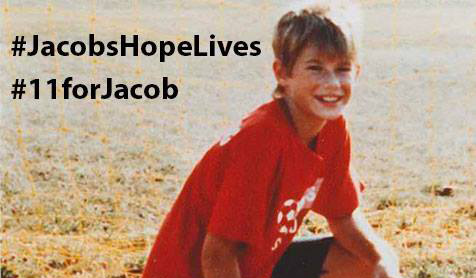 "Jacob Wetterling loved sports. When his father coached his Central Minnesota Youth Soccer Association soccer team, Jacob, 11, wore a red jersey with the number ""11"" on it. Now the Wetterling family is asking people to use the number 11 to honor their son by adding it somewhere on their person ""at their next game, concert or big event to show their commitment to making the world a better place for kids,"" they wrote in a post Wednesday, Sept. 7, 2016 on the Jacob Wetterling Resource Center's Facebook page. (Photo courtesy of the Jacob Wetterling Resource Center)"