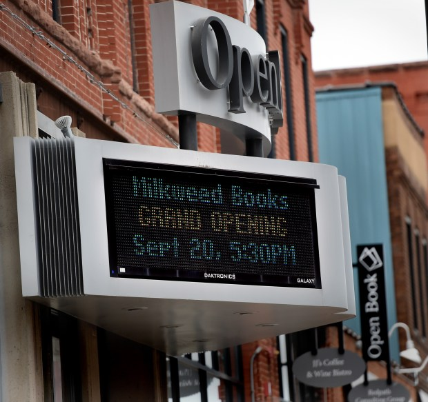 A sign on Milkweed Books announces their grand opening in the Open Book building in Minneapolis Thursday, Sept. 15, 2016. Milkweed Books is the first bookstore in the Twin Cities that is being opened by a publisher - Milkweed Editions - which is in the same building. It opens to the public on Sept. 20. (Pioneer Press: Jean Pieri)