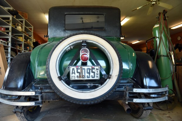 "A 1925 Chev 2 door Coupe, restored, will be sold at the estate auction of ""Flaming Eddy"" Erickson in Scandia, Mn., photographed August 31, 2016. (Pioneer Press: Scott Takushi)"
