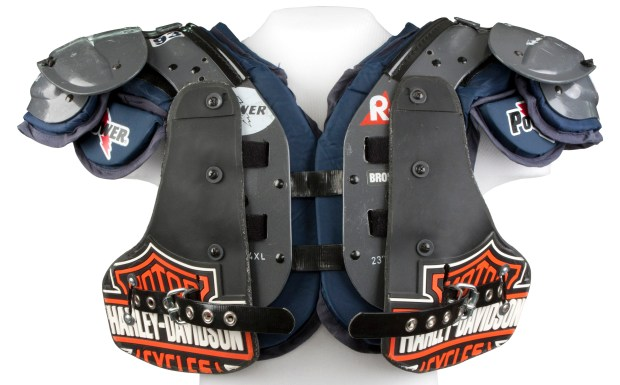 Shoulder pads worn by John Randle, defensive tackle for the Minnesota Vikings and Seattle Seahawks, 1996-2003. Randle was a six-time All-Pro as a member of the Vikings and was inducted into the Hall of Fame in 2010. (Courtesy Pro Football Hall of Fame)
