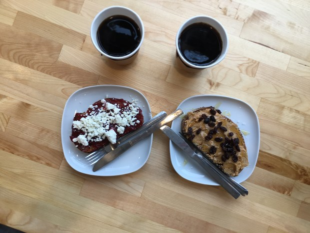 Sept. 29, 2016 photo of toast bars – the Razz (left) and the Lug from Brake Bread bakery on West 7th. (Pioneer Press: Jess Fleming)