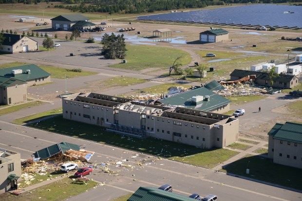 Multiple buildings on Camp Ripley, including those used for housing, training and maintenance, received damage during a late-night storm that moved through Morrison County on Sept. 7, 2016. (Photo courtesy of Minnesota National Guard: SSG Anthony Housey)