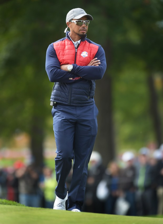Tiger Woods watches the U.S. team at the Ryder Cup at Hazeltine National Golf Club in Chaska, Minn., Tuesday, Sept. 27, 2016. (Pioneer Press: Scott Takushi)