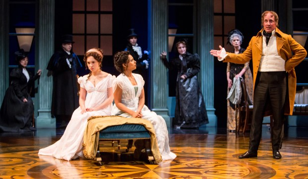 """Will sisters Marianne (Alejandra Escalante, left) and Elinor (Jolly Abraham) have the sense not to listen to their brother, John (Kris L. Nelson) in Guthrie Theater's production of """"Sense and Sensibility""""? (Dan Norman)"""