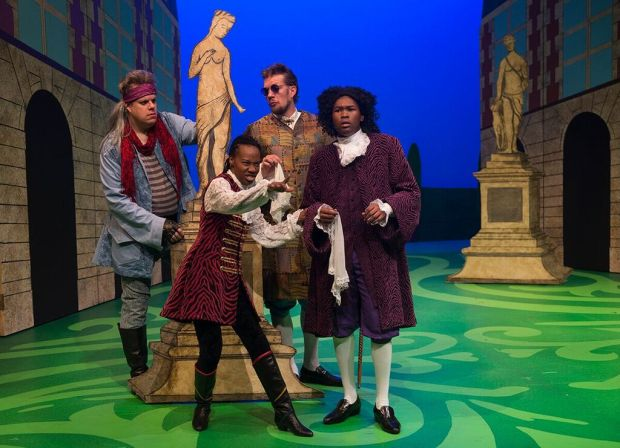 "Zach Curtis (from left), Sha Cage, Michael Ooms and JuCoby Johnson appear in ""The Liar"" at Park Square Theatre. (Petronella J. Ytsma)"