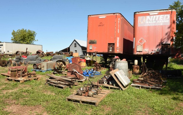 """Nine semi trailers, 500 pallets of Chevy and John Deere parts and lots of other stuff, dozens of vehicles and tractors will be sold at the estate auction of """"Flaming Eddy"""" Erickson in Scandia, Mn., photographed August 31, 2016. (Pioneer Press: Scott Takushi)"""