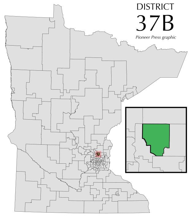 Minnesota House District 37B locator map.