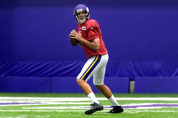 Minnesota Vikings quarterback Sam Bradford throws during the team's practice in Eden Prairie on Wednesday, Sept. 7, 2016. (Pioneer Press: Scott Takushi)