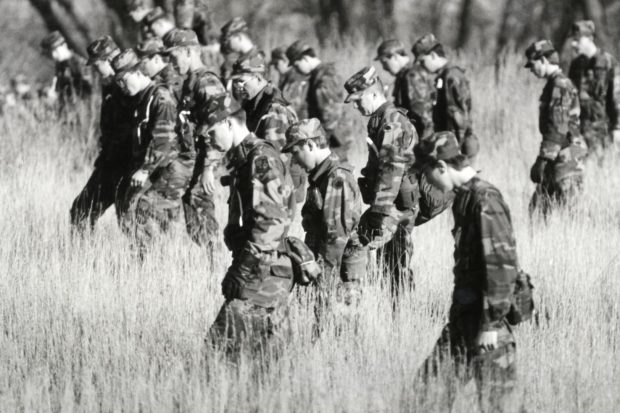 Members of the Minnesota National Guard searched a field near St. Joseph Saturday morning as they joined in the search for 11-year-old Jacob Wetterling who was kidnapped Sunday night. Governor Rudy Perpich called out 100 guardsmen Friday as the search for Jacob intensified on October 28, 1989. (Pioneer Press File Photo)